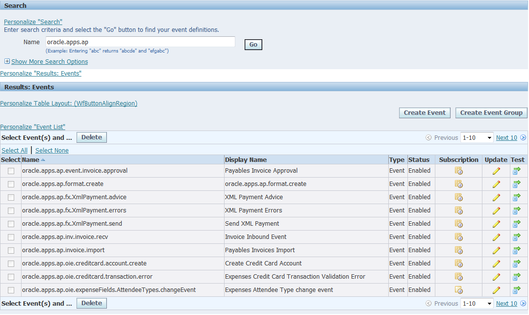 Workflows to subscribe to business events | amox :: oracle