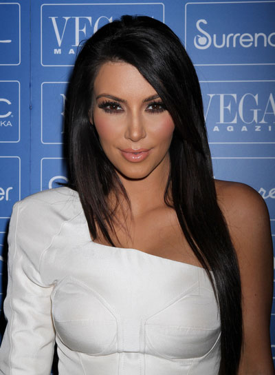 Kim Kardashian Long Straight Sophisticated Hairstyle