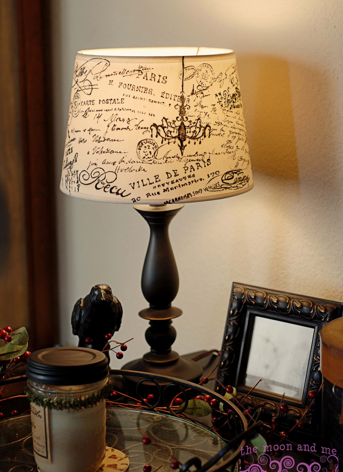 The moon and me diy french script lampshade copycat aloadofball Image collections