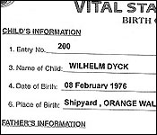 Birth certificate of Wilhelm Dyck