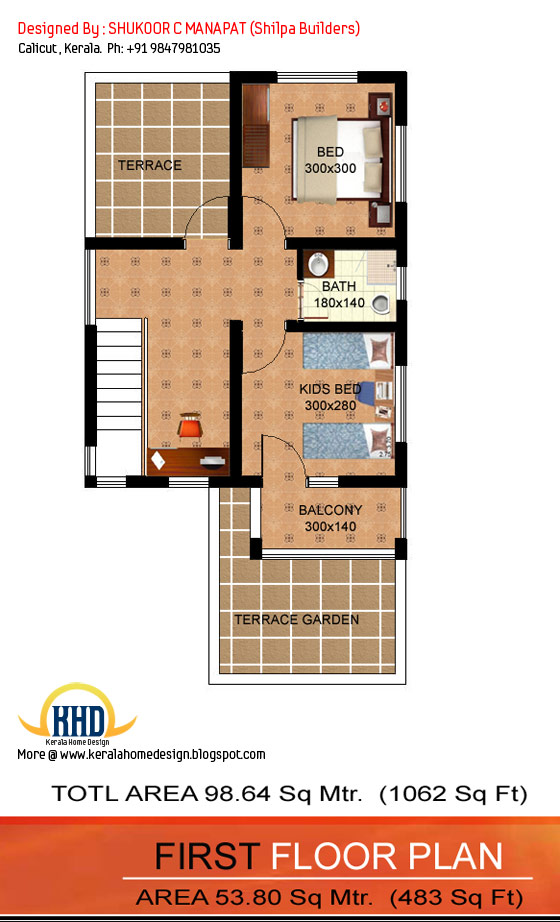 First floor plan - 1062 Sq.Ft. 3 bedroom low budget house