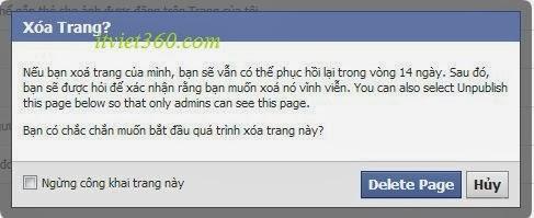 Cách xóa trang Facebook mình đã tạo - Delete Fan Page FB