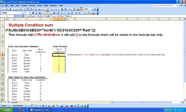 how to add multiple sum formula in excel