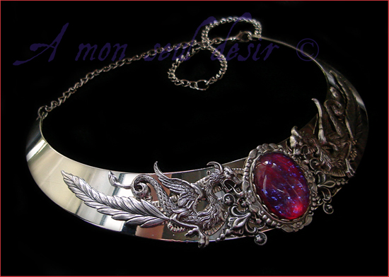 Collier torque dragon médiéval renaissance necklace torc medieval fantasy Dragon Breath Targaryen Smaug