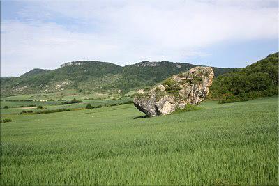 Gran roca en medio de un campo de labor