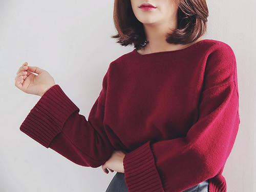Ribbed Cuff Short Sweater