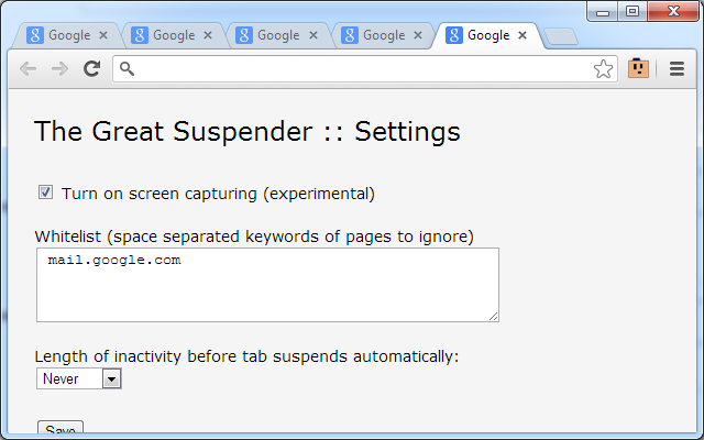 Google Chrome 瀏覽器 The Great Suspender 擴充功能 設定