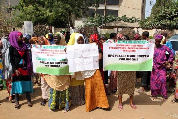 supporters protest for dokpesi in Abuja