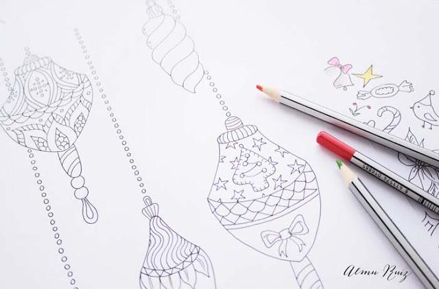 Dibujos navideños hechos a mano para colorear