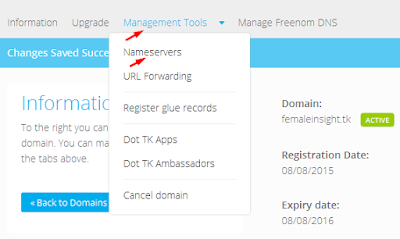 Management Tool domain dot.tk
