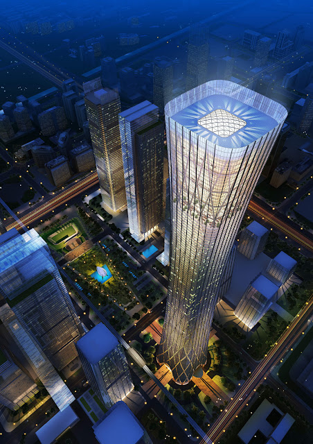 Rendering of China Zun (CITIC Plaza) by TFP Farrells, Beijing, China as seen from the air with the city in the background at night