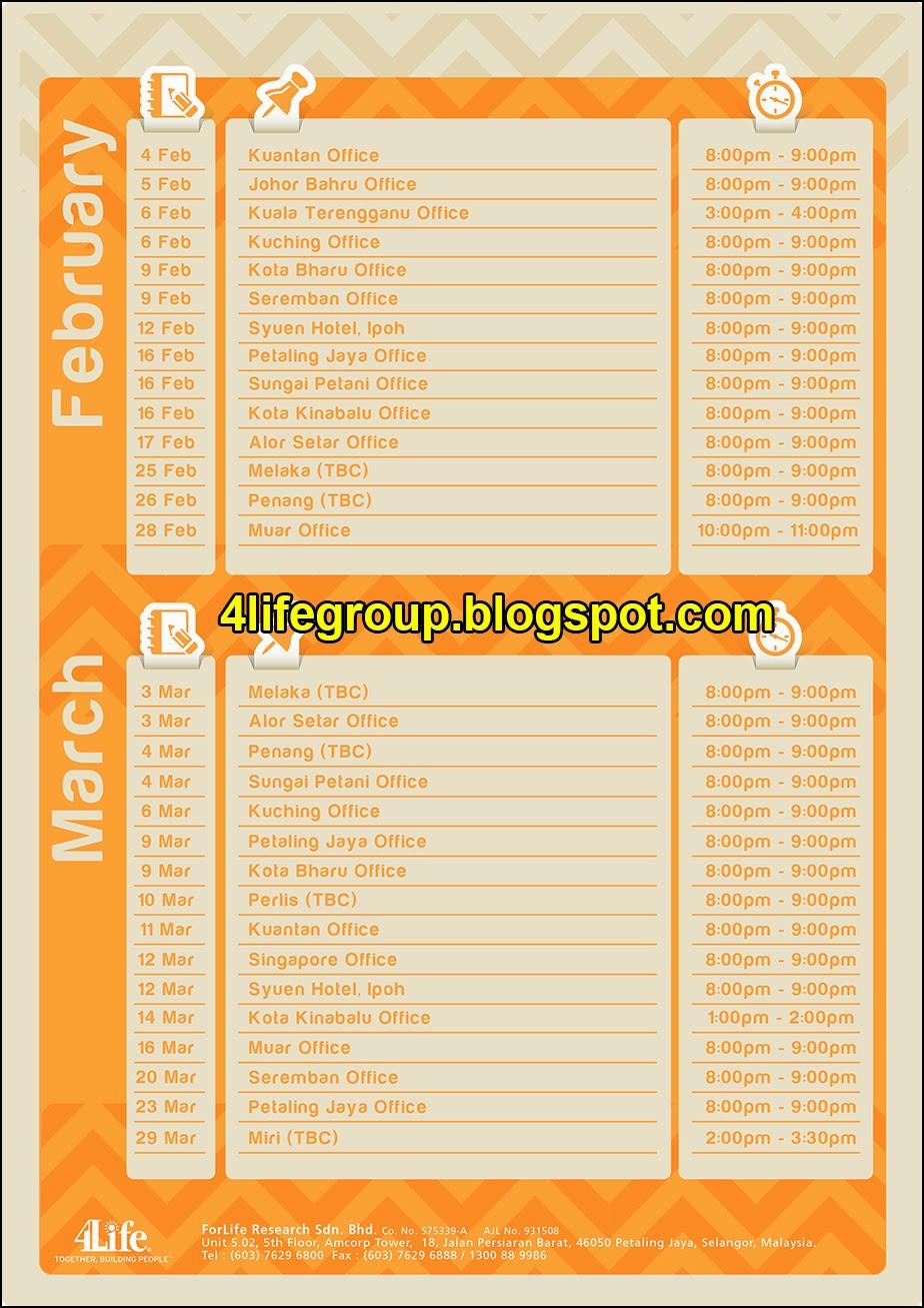 foto Jadual Pembentangan Peluang Perniagaan 4Life (B.O.P) (Januari - Mac 2015)