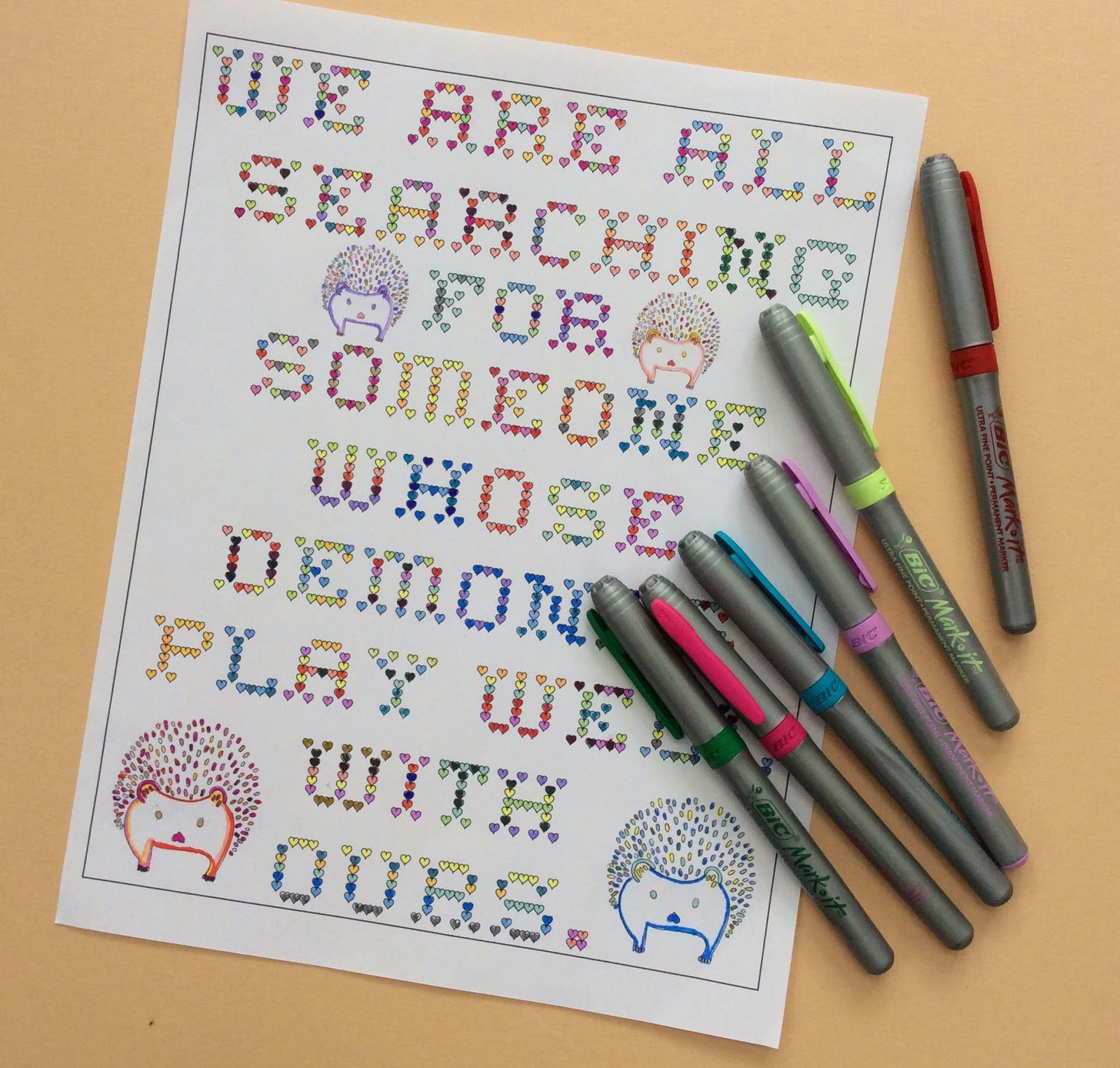 We are all searching for someone whose demons play well with ours, adult coloring page, quote, stefanie girard