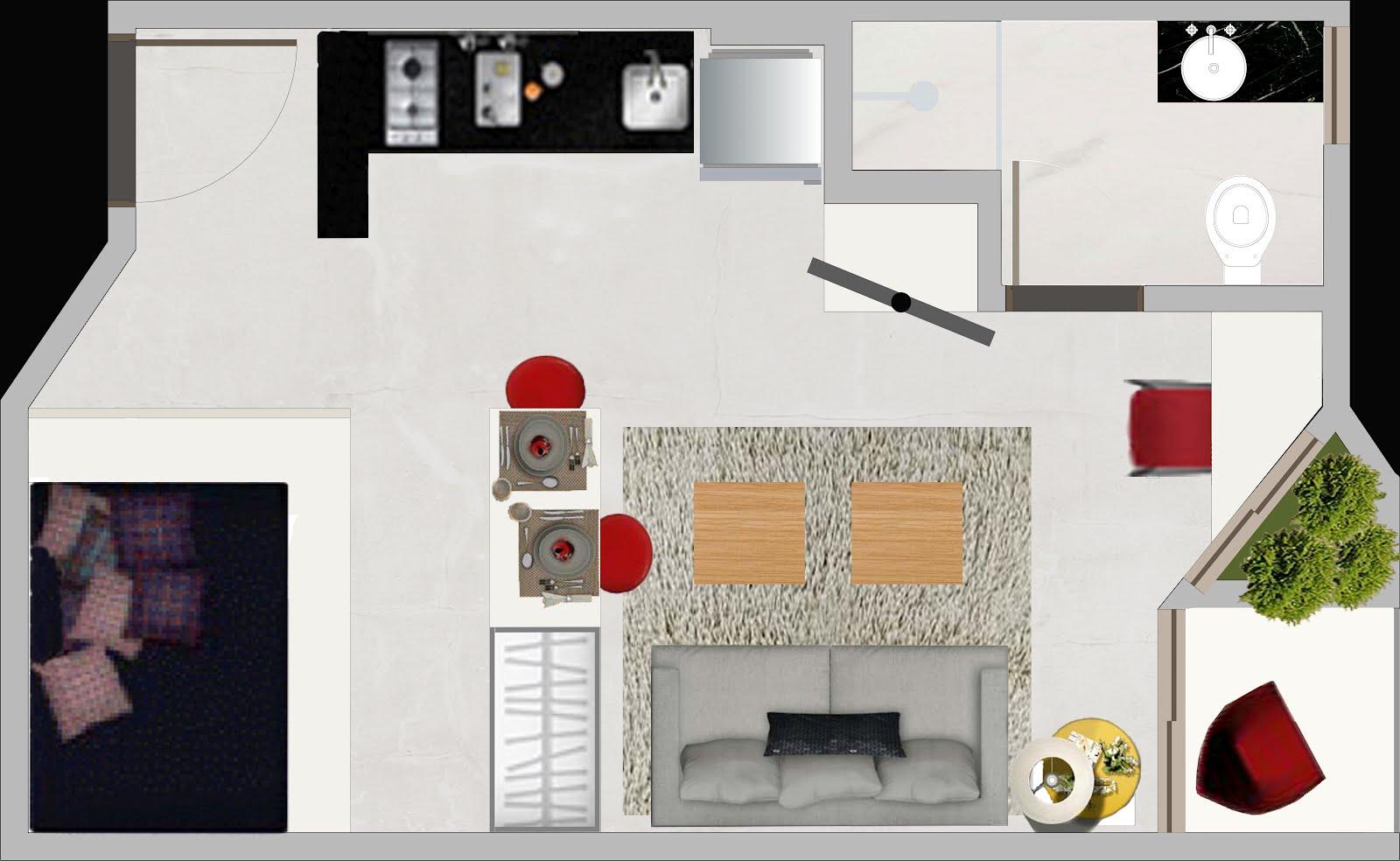 #861F1F APARTAMENTO COMPACTO ~ Studio   Arquitetura 1600x984 px projeto banheiro compacto