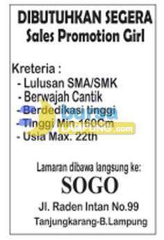 Lowongan Kerja SOGO Lampung