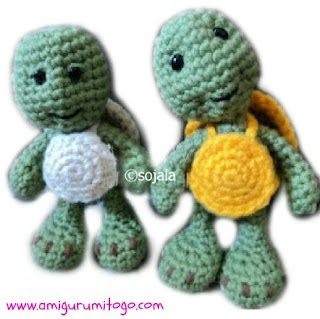 green crochet turtle