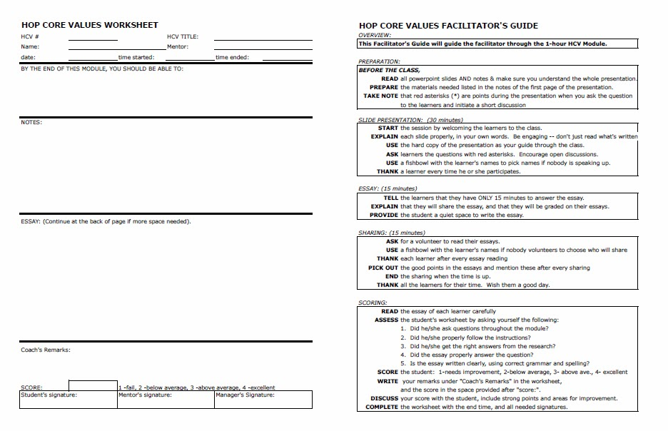 HOP Toolkit – Core Values Worksheet
