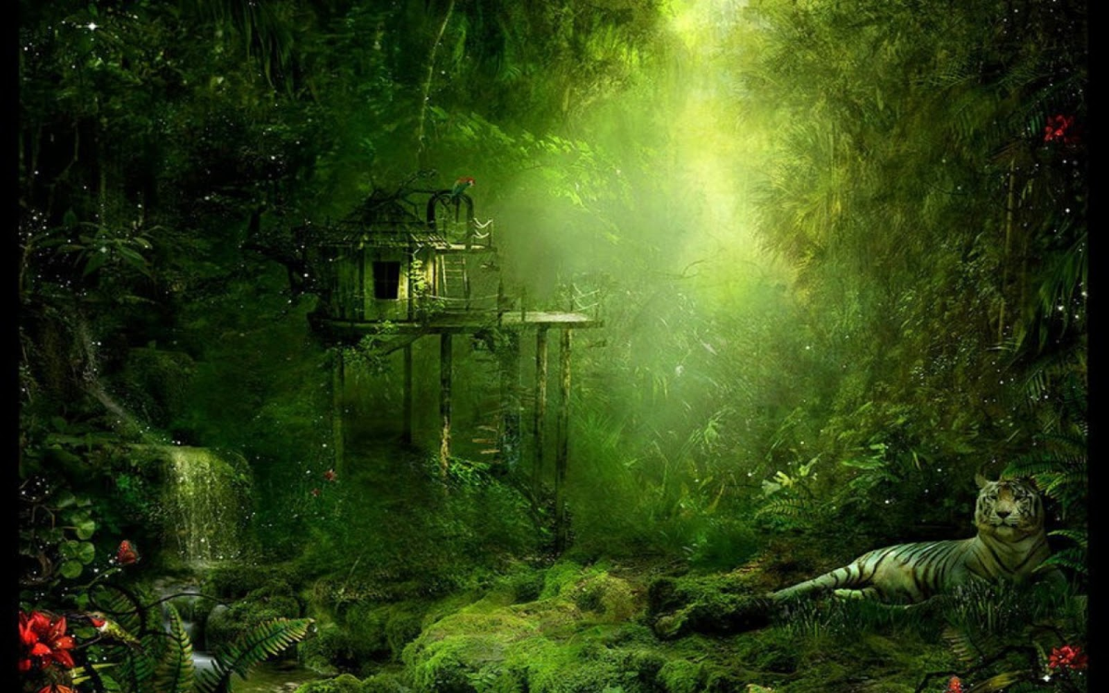 I love treehouses the jungle tree house wallpaper 1680x1050 for Tree wallpaper for home