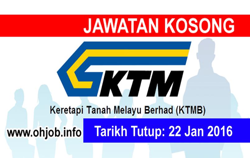 Jawatan Kerja Kosong Keretapi Tanah Melayu Berhad (KTMB) logo www.ohjob.info januari 2016