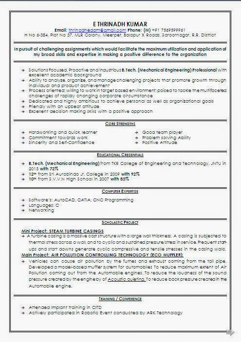 mechanical engineer fresher resume format