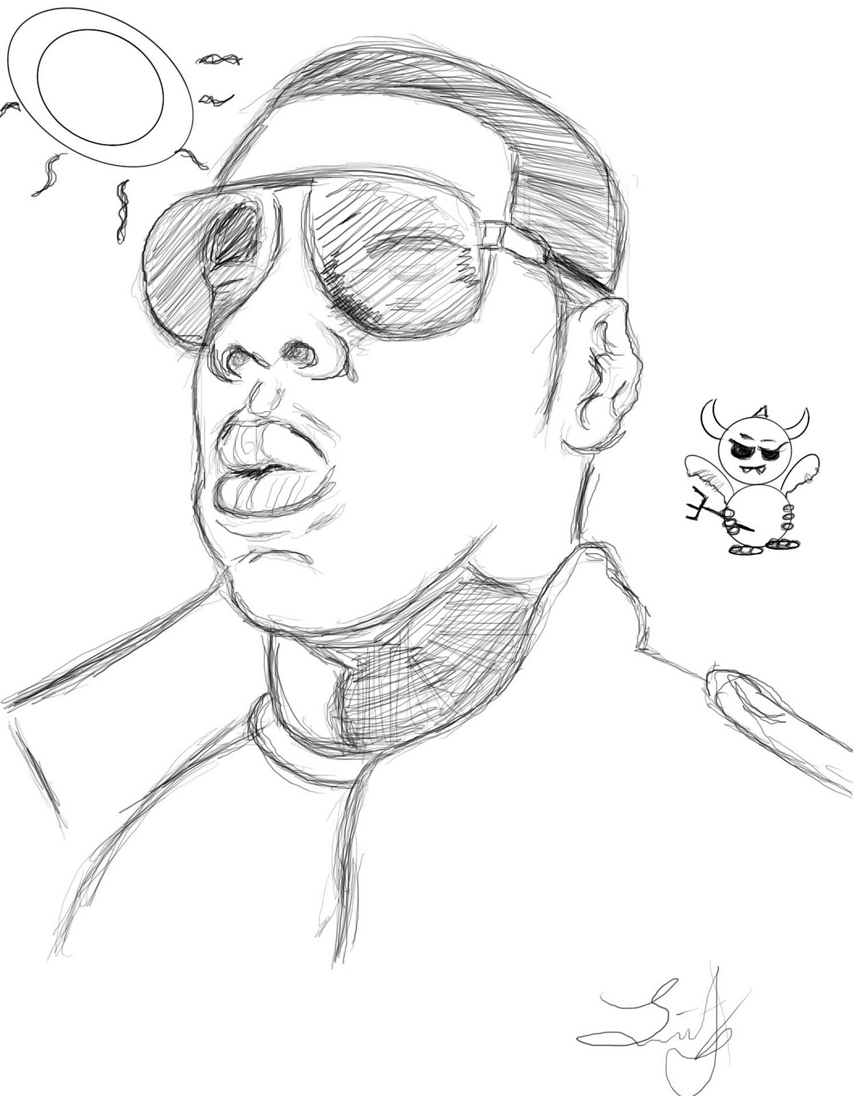 flyer sketch of jay z i did for micology at ccbc catonsville