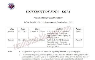 B.Com. Part 3 Timetable Winter 2012 Kota University