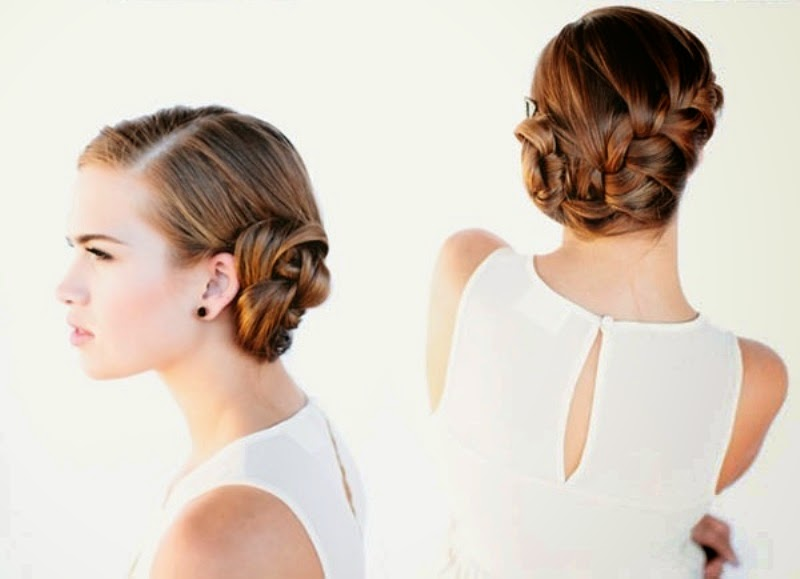 Beautiful French Braid Bun Hair For Wedding