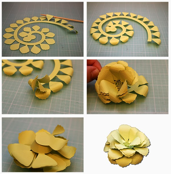 bits of paper rolled paper flowers