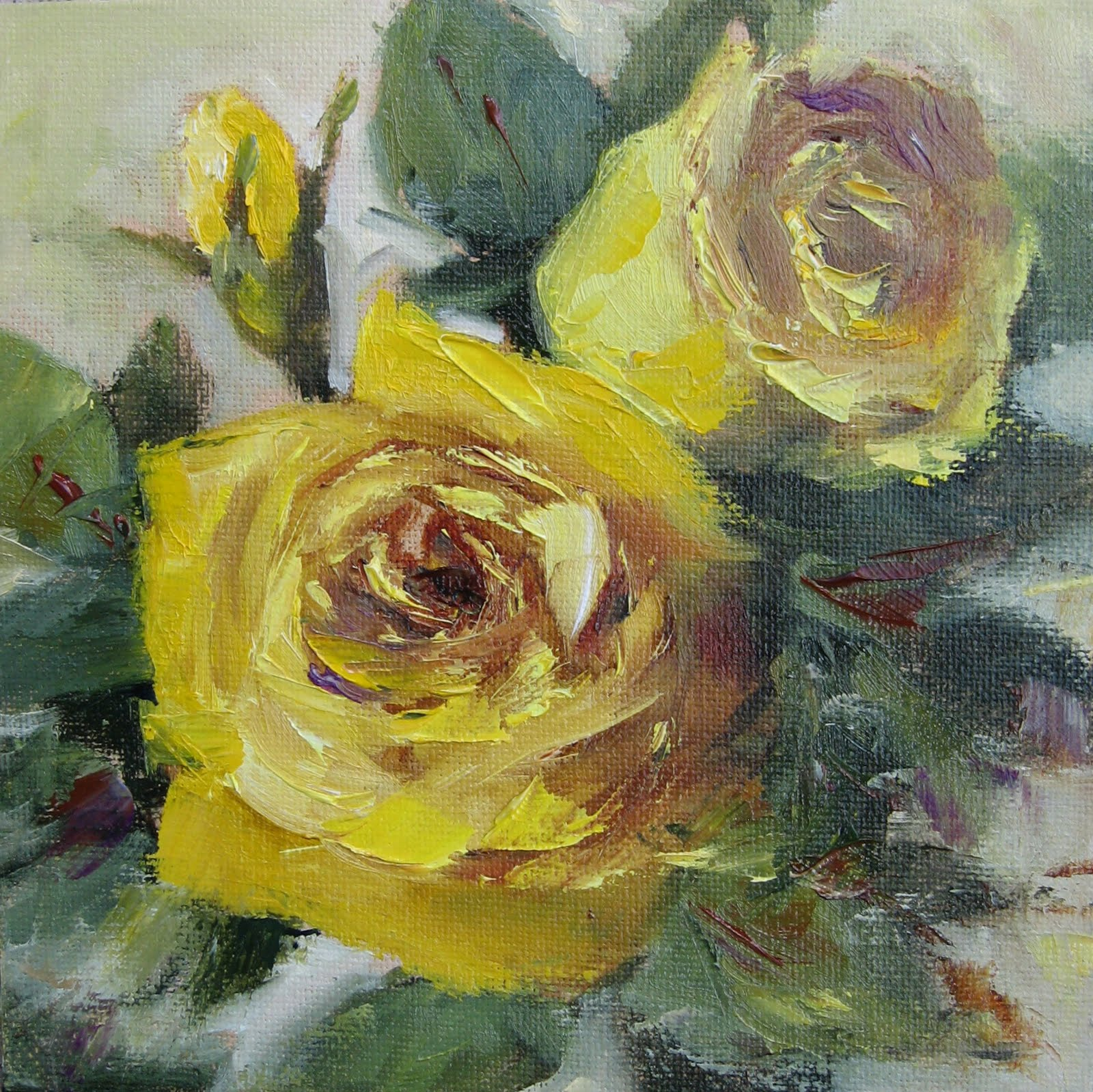 Pat fiorello art elevates life flower study 31 yellow for How to oil paint flowers