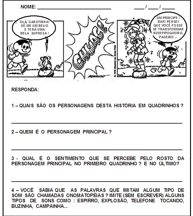 ATIVIDADES INTERPRETA    O E PRODU    O DE TEXTO TURMA DA M  NICA