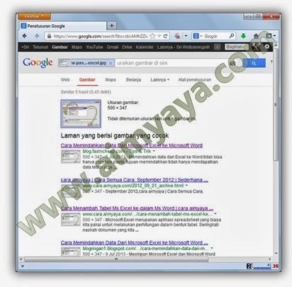 Gambar: Contoh hasil pencarian gambar dengan file image yang di upload (unggah)