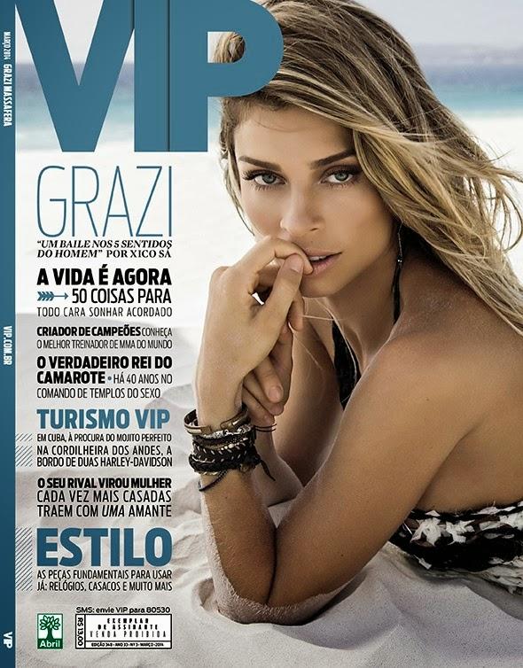 Grazi posou para um ensaio de biquíni para a revista Vip