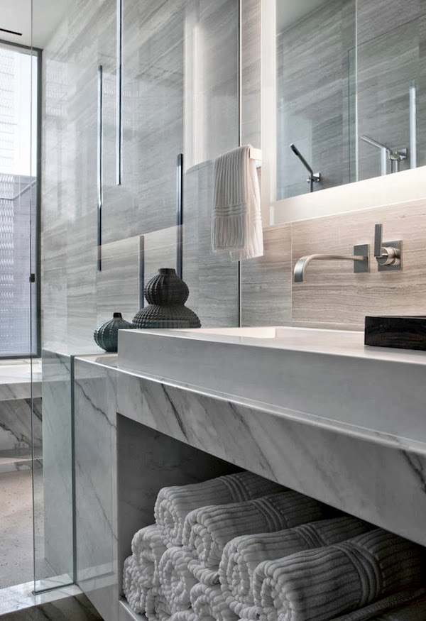 Marble bathroom furniture in Multimillion modern dream home in Las Vegas