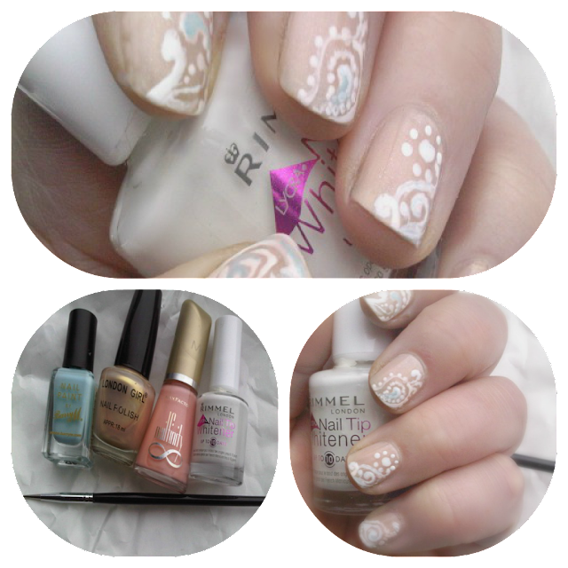 nail products used to create paisley nailart