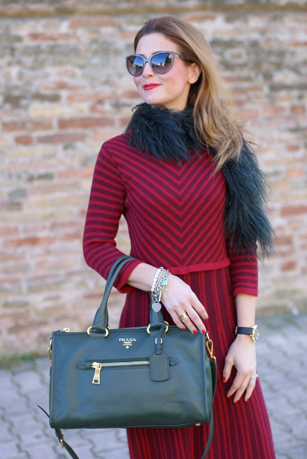 Rose a Pois striped dress on Fashion and Cookies fashion blog, fashion blogger style