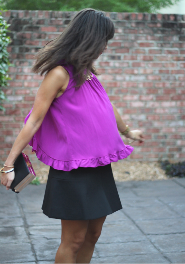Alisha Levine top and J. Crew fluted skirt on The Pumpkin Spot