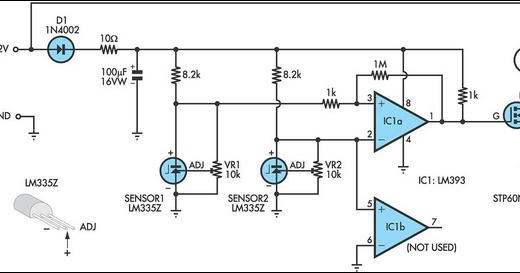 electronic circuit  pump controller for solar hot water system lm335z
