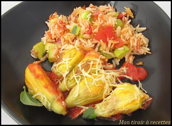 Mon tiroir recettes blog de cuisine fleurs de courgette farcies au ch vre - Fleurs de courgettes au four ...