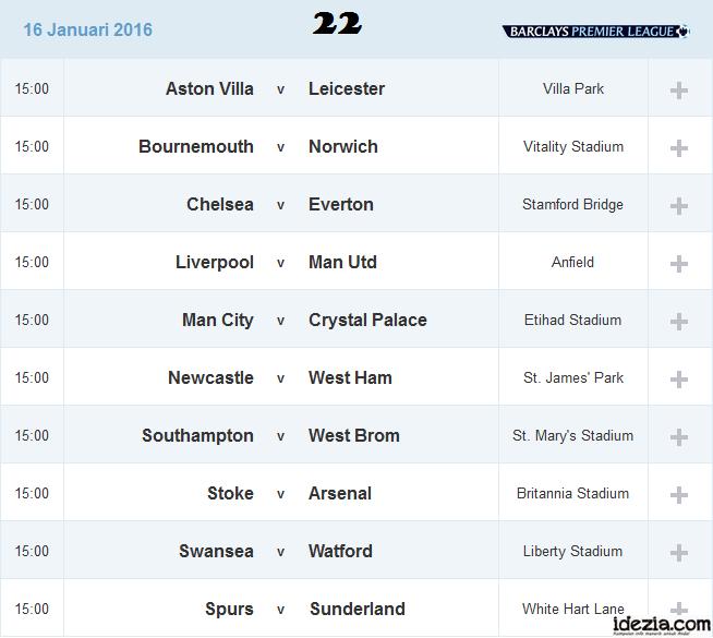 Jadwal Liga Inggris Pekan ke-22 16 Januari 2016