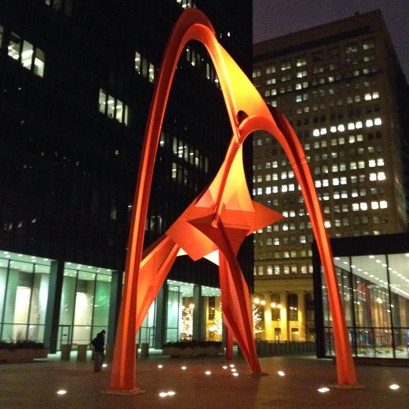 red Flamingo Calder sculpture