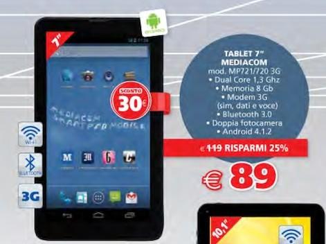 Miglior prezzo di questo mese per tablet mediacom da 7 pollici 3G