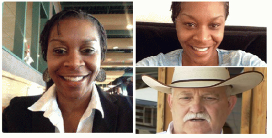 Sandra Bland (left and top right) and Sheriff Glenn Smith.