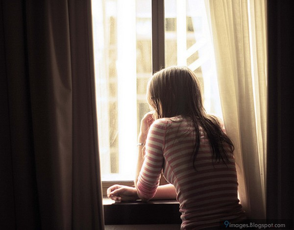 Girl, waiting, someone, window, alone