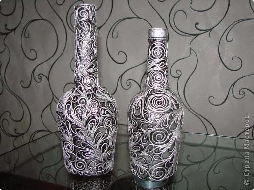 Декупаж бутылок в стиле пейп арт