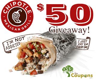 Chipotle 30 gift card free burrito