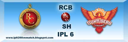 IPL 6 RCB vs SH Live Streaming Video and IPL Season 6 Winner Team Name