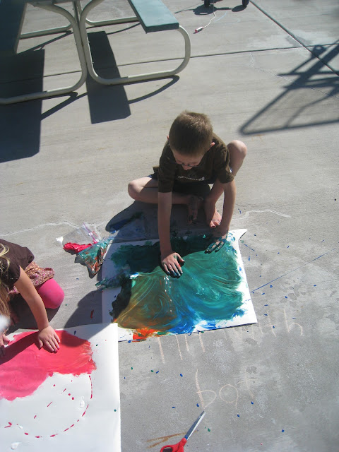 messy drip painting for kids