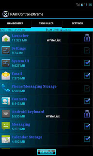Screenshots of the RAM: Control eXtreme for Android tablet, mobile phone.