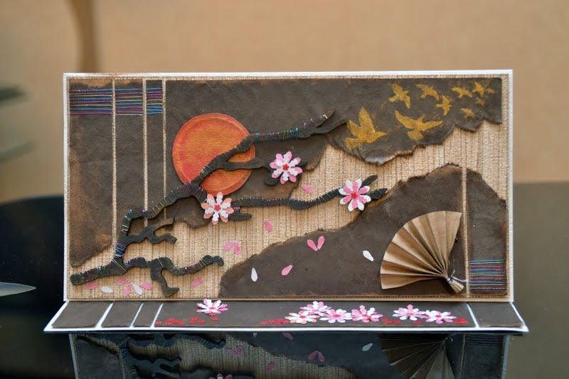 Открытка с сакурой своими руками