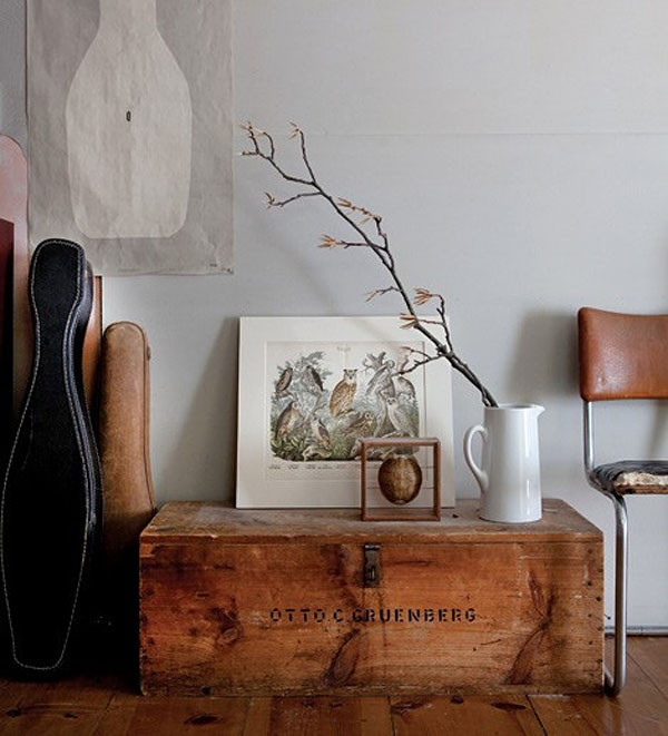 decorar con baules  antiguos , baul de fabrico vintage madera